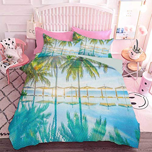 Hiiiman Duvet Cover Set Pool by The Beach with Seasonal Eden Hot Sunny Humid Coastal Bay Photography (3pcs, Queen Size) with 2 Pillow Sham