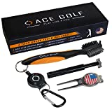 Ace Golf Brush and Club Groove Cleaner Set with Divot Tool, Ball Marker, Groove Sharpener, 2 Feet Retractable Zip-line Aluminum Carabiner, Attaches Golf Bags - Orange - Deluxe