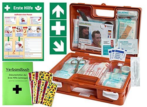 Erste-Hilfe-Koffer KITA PLUS -Komplettpaket- DIN/EN 13157 für Betriebe + DIN/EN 13164 für KFZ - incl. 1.Hilfe-Aufkleber & 1. Hilfe AUSHANG