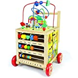 Baby Walker Wooden Toys Toddler-Baby Walkers with Activity Cube for Boys Girls from 12 Months,Wooden Push...