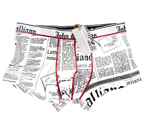 John Galliano Designer Boxershorts Parigamba für Herren in weiß-Schrift, Gr. 46/S