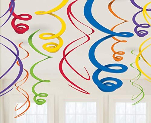 amscan 12 Deko Spiralen, Regenbogenfarben, Amerikanische Größe