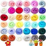 36 Colors Needle Felting Wool,Fibre Wool Yarn Roving,Needle Felting Hand Spinning for DIY Craft Materials