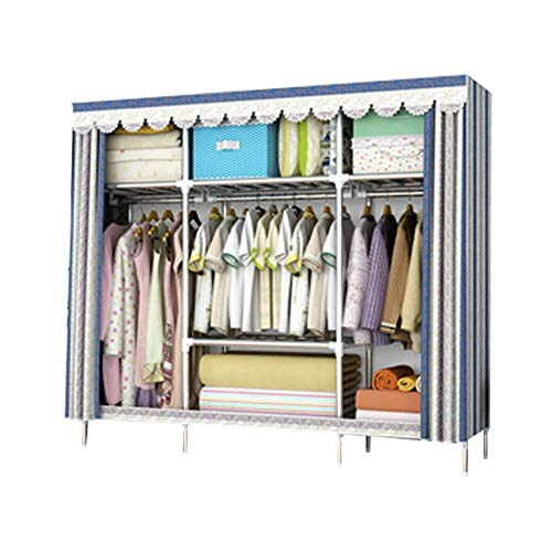 Lowest Prices! PENG Wardrobe Thick Cloth Wardrobe Steel Pipe Bold Reinforcement All Steel Frame Fabr...