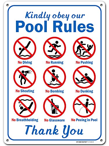 """My Sign Center Kindly Obey Schwimmbad-Sicherheitsschild """"Swim at Your Own Risk"""", aus rostfreiem Aluminium, für den Innen- und Außenbereich, UV-geschützt und lichtbeständig, 25,4 x 35,6 cm"""