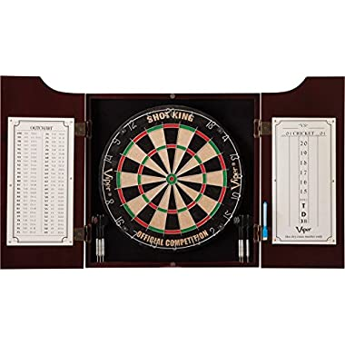 Viper by GLD Products Viper Hudson Sisal/Bristle Steel Tip Dartboard & Cabinet Bundle: Standard Set (Shot King Dartboard)