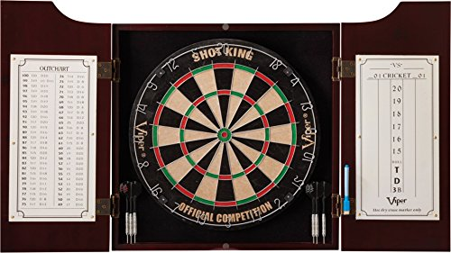 Viper Hudson All-in-One Dart Center: Classic Solid Wood Cabinet & Official Sisal/Bristle Dartboard Bundle: Standard Set (Shot King Dartboard), Mahogany Finish
