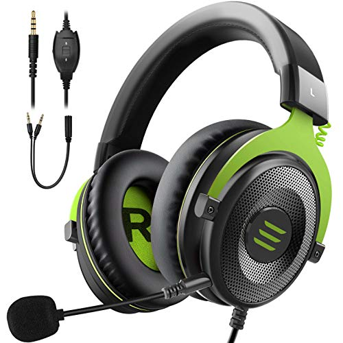 EKSA E900 Wired Stereo Gaming Headset-Over Ear Headphones with Noise Cancelling Mic, Detachable Headset Compatible with PS4, Xbox One, Nintendo Switch, PC, Mac, Laptop (Green)