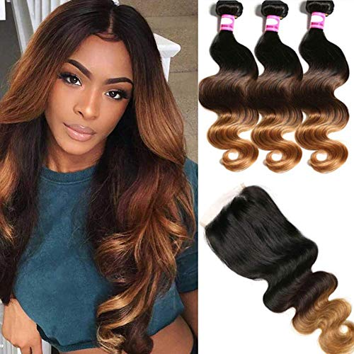 Hairitory 3 Tone Ombre Body Wave Bundles With Closure Brazilian 8A Virgin T1B/4/30 Human Hair Bundles With Closure 100g/PC So Soft(16 18 20+14 T1B/4/30)