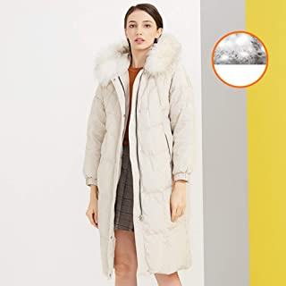 Down Jacket Puffer Long Coat Parka with Fur Trimmed Hood Winter Waterproof Rain Thickened Coats for Women,White,M