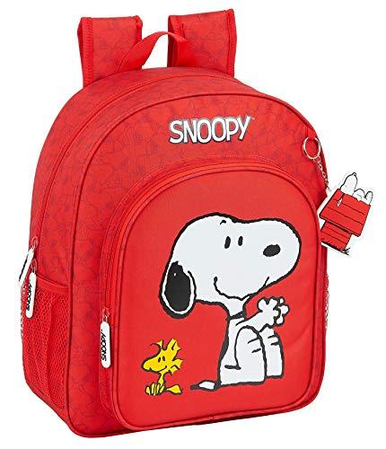 safta Mochila Escolar Junior de Snoopy, 320x120x380mm, rojo