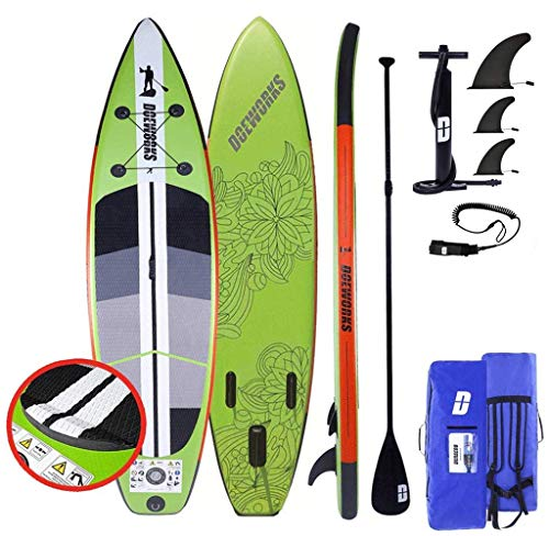 DURAERO Stand up Paddling Board Aufblasbare SUP, 330x76x15cm, Integrierte Kick-Pad, 3-teiliges Paddel, 3 ausnehmenbare Fins, Pumpe, Transportrucksack, Reparaturset