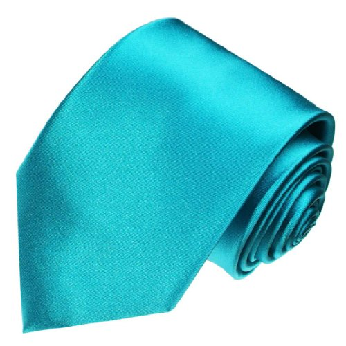 Lorenzo Cana - Türkise Marken Krawatte aus 100{bde758b060895ccfd18985d4a7a3da5dbdc8c86d555dec611c1afc858bd04119} Seide - Schlips Binder aus Satinseide - 84443