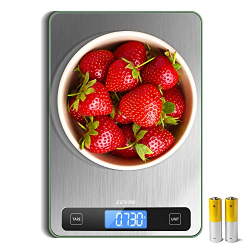 LEVIN Food Scale, 33lb Digital Kitchen Scale with 1g/0.05oz Precise Graduation, 5 Units LCD Display Scale for Cooking/Baking in KG, G, oz, ml, and lb,...
