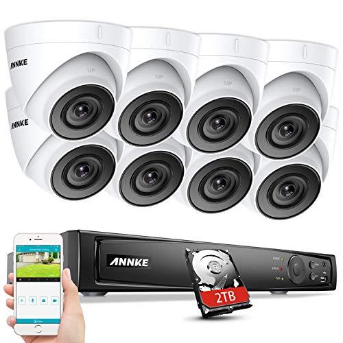ANNKE H.265 Pro+ 5MP PoE Überwachungskamera System Set, 4K 8CH Videoüberwachung NVR Rekorder 2TB Festplatte mit 8X 5MP HD IP Kamera,für Aussen Innen,EXIR Nachtsicht, Bewegungserkennung