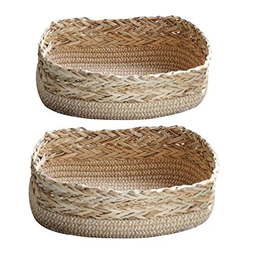 2 uds cesta de almacenamiento de paja tejida rústica caja de cosméticos boho organizador de estantes de cocina