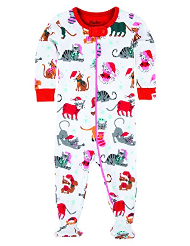 Hatley Footed Coverall - Holiday Cats Grenouillère, Blanc - Blanc, 3-6 Mois Bébé Fille