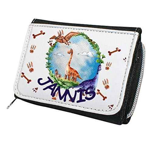 wolga-kreativ Kindergeldbörse Geldbörse Geldbeutel Portemonnaie mit Namen Dino Dinowelt für Jungen Mädchen personalisiert für Kinder klein Geschenk Geburtstag Einschulung Schultüte Füllung
