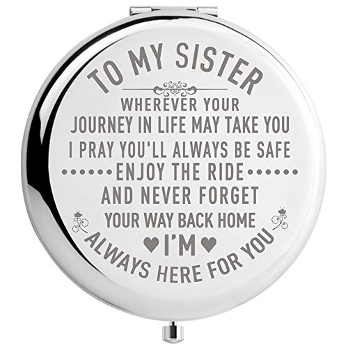 Sister Gifts from Sister Brother, Sisters Birthday Gift Ideas, for Girls, Engraved Gifts for Mothers Day, Graduation Present for Her (Silver, to My Sister 2.6inch)