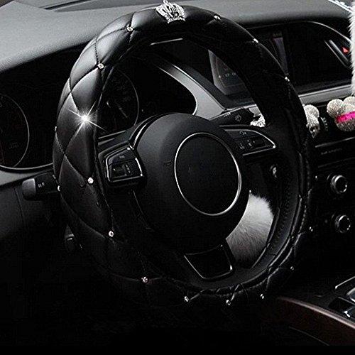 Universal Auto Lenkradhülle Lenkrad Abdeckung mit Krone und Diamanten Lenkradbezug aus PU Leder 38CM / 15\'\' Anti Rutsch Lenkradabdeckung Lenkradschoner für Damen & Mädchen