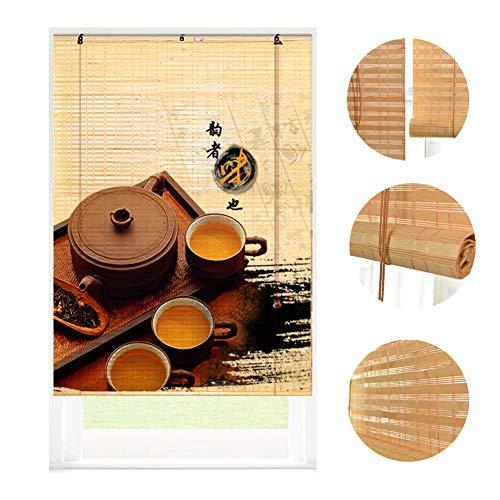 LIANGJUN Persianas Enrollables Cortina Estores De Bambú Romanas, Tejido Nido Protector Solar Media Sombra Renovación del Hogar Decoración Terraza Acristalada Tamaño Personalizado