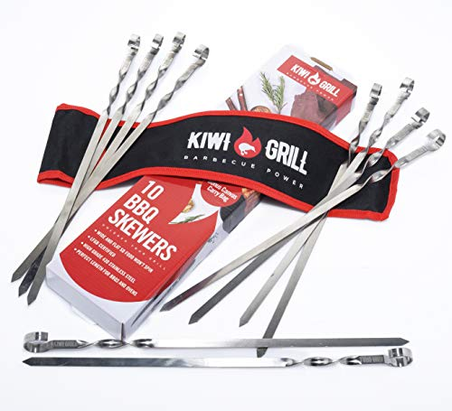 Kebab Skewers (10) | Metal Skewers, Perfect to use as BBQ Skewers, Shish Kebab Skewers or Kofta Kebab Skewers on the Grill or in the Oven | Designer Packaging and Free Carry Bag, the