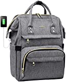 Laptop Backpack Women Teacher Backpack Nurse Bag 15.6 Inch Womens Work Bag Purse Water-Resistant Business Travel Backpack with USB Charging Port, School Backpack Bookbag(Grey)