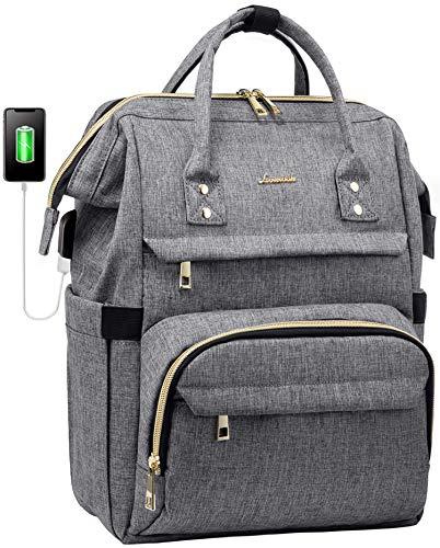 Laptop Backpack for Women 15.6 Inch, Teacher Backpack Womens Purse Water-Resistant Travel Backpack with USB Charging Port, School Backpack Bookbag Nurse Bag Work Bags (Grey)