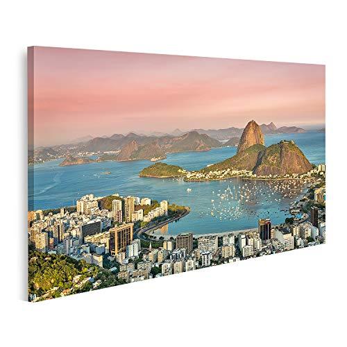 Cuadro en lienzo Atardecer sobre la bahía de Botafogo de Río de Janeiro Brasil Cuadros Modernos Decoracion Impresión Salon