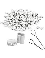 Adereindhulzen Aluminium 200 Pcs Krimp Lus Crimp Loop Aluminum Sleeves Staaldraad Klem Touw Klem Aluminium Hulzen Rope Clamp Voor Touwen Staaldraadverbinders Staaldraadklemmen