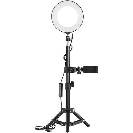 Rakuby 6インチ LEDリングライト ビデオライト 撮影用照明 化粧 自撮り補助光 3000K-6000K色温度 11段階調光可能 3つ照明モード 64ビーズ ライブビデオ 生放送 YouTubeビデオ用