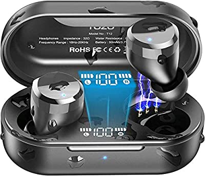 TOZO T12 Wireless Earbuds Bluetooth Headphones Premium Fidelity Sound Quality Wireless Charging Case Digital LED Intelligence Display IPX8 Waterproof Earphones Built-in Mic Headset for Sport Black by Tozo