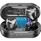 TOZO T12ワイヤレスイヤホンBluetooth イヤホン Bluetooth 5.0 タッチコントロール イヤホン ワイヤレス充電ケース付き デジタルインジケーター付き LEDディスプレイ イヤフォン IPX8防水ワイヤレス イヤホン マイク内蔵 スポーツに適用 ブラック