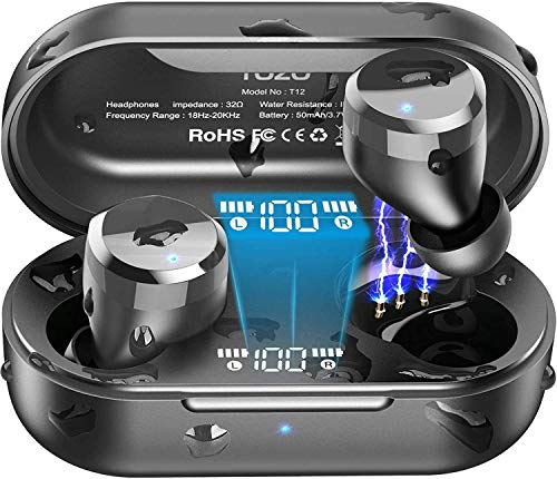 TOZO T12 Wireless Earbuds Bluetooth Headphones Premium Fidelity Sound Quality Wireless Charging Case Digital LED Intelligence Display IPX8 Waterproof Earphones Built-in Mic Headset for Sport Black