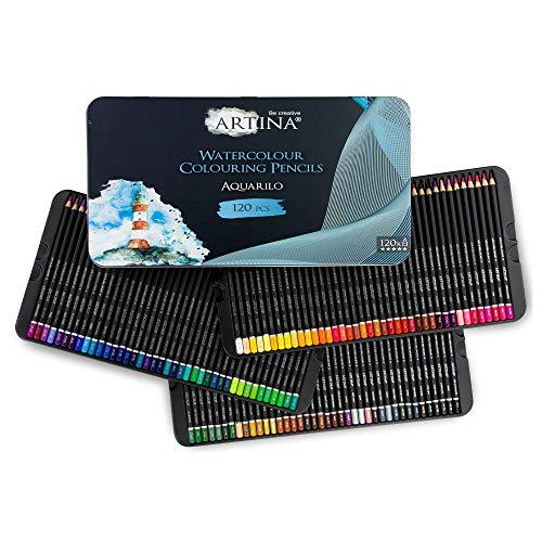 Artina Aquarilo Aquarell XXL Buntstifte Set 120er - FSC Stifte Set Farbstifte bruchsicher, hoch pigmentiert, wasserlösliche bunte Holzstifte für Künstler zum Zeichnen und Malen