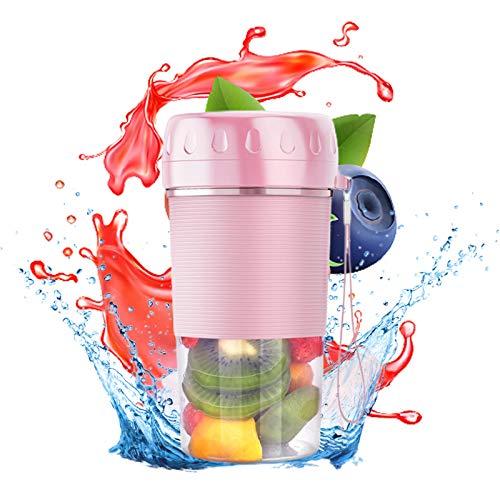 Tragbarer Mixer, Mini-Mixer für Smoothies und Shakes, wiederaufladbare USB-4-Klingen-Mehrzweck-Fruchtsaftpresse-Mischflasche Haushaltsküchenwerkzeug Rosa