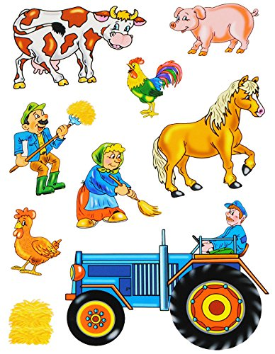 alles-meine.de GmbH 9 TLG. Set _ Fensterbilder -  Bauernhof - Tiere & Traktor  - Sticker Fenstersticker Aufkleber - statisch haftend / selbstklebend + wiederverwendbar - Fenste..