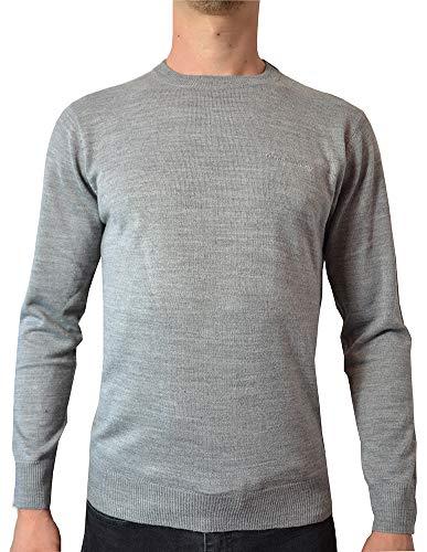 Pierre Cardin Jersei Esencial para Hombre de Punto con Cuello Redondo (Small, Grey Marl)