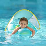Free Swimming Baby Inflatable Baby Swimming Float with Safe Bottom Support and Retractable Fabric Canopy for Safer Swims(Yellow, X-Large)