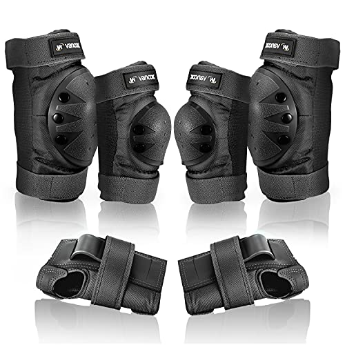 Vancok Kids/Adult Knee Pads Elbow Pads Wrist Guards, 3 in 1 Protective Gear Set Safety Pads for Skateboarding Inline Roller Skating Cycling Biking BMX Bicycle Scooter Riding Sports [Version 5.0]