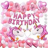 Decorazione per feste, Aperil 52pcs Decorazione per feste di compleanno con palloncini, Banner di buon compleanno per ragazze, bambini e donne
