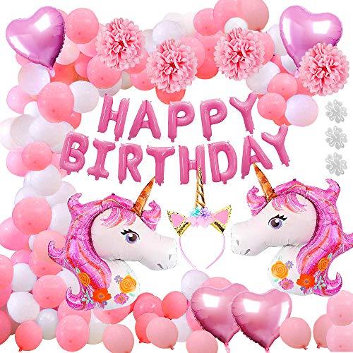 Aperil 52pcs Unicorn Party Supplies Decorations, Enorme Papel de Helio Unicornio Corazón y Globos de látex Feliz cumpleaños Banner Unicorn Diadema Papel Pom Poms Colgando Remolino para