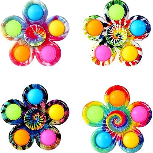Ousyaah 4 pcs Fidget Spinner Pops Spinners Juguetes, Push and Pop Bubble Juguete Sensorial Fidget Toys, Tie-Dye Bubble Spinner, Antiestrés juguetes para Niños Adultos