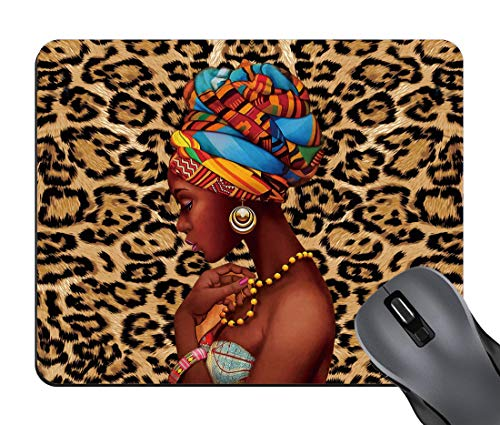 BWOOLL Leopard Print Gaming Mouse Pad, African Women Design Mouse Pad, Non-Slip Rubber Base Mouse Pads for Laptop and Computer, Cute Design Desk Accessories