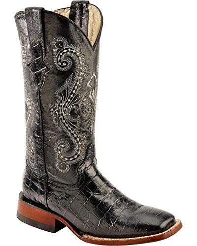 Ferrini Women's Alligator Print Cowgirl Boot Wide Square Toe Black 9 M US