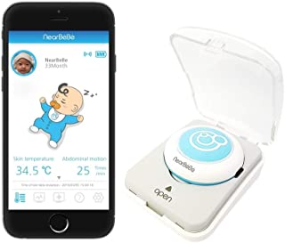 Nearbebe Care - Infant, Baby Safety Monitor: Live Tracks, Alert on No Breathing, Rollover, Skin Temperature, Smart Wearable Device, Movement Sensor, Smartphone App, Room Temp & Humidity(SkyBlue)