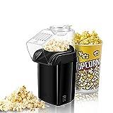 WEADFHZB Máquina para Hacer Palomitas de Maíz, 1200W Maquina de Palomitas con Aire Caliente Sin Grasa Aceita, Maquina Electrica de Popcorn, Popcorn Maker Tapa Removible con Taza (Black)