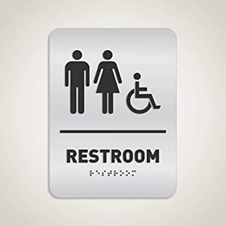 Unisex Restroom Identification Sign - Wheelchair Accessible, ADA Compliant Bathroom Sign, Raised Icons, Raised Braille, Brushed Aluminum, TCO Inspection Certified - by GDS Architectural Signage