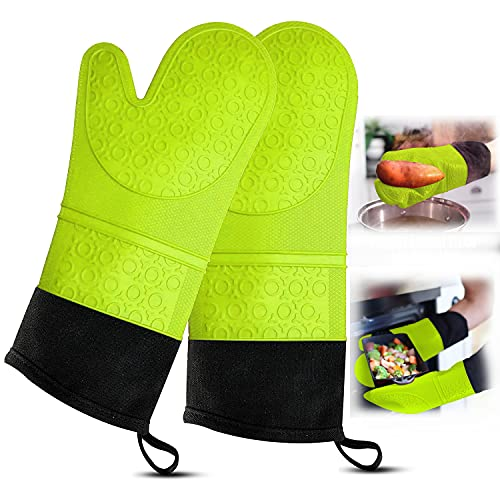 RFAQK Extra Long Silicon Oven Mitt with Heat Resistance and Quilted Liner-Food Safe Baking Gloves for Cooking in Kitchen Having Soft Inner Lining,Non Slip Flexible Kitchen Gloves
