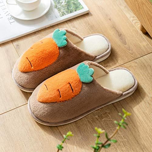 B/H Zapatillas de espuma de memoria para mujer, zapatillas de algodón de felpa de tela, zapatos de invierno antideslizantes para el hogar, café_40/41, suela de goma antideslizante al aire libre